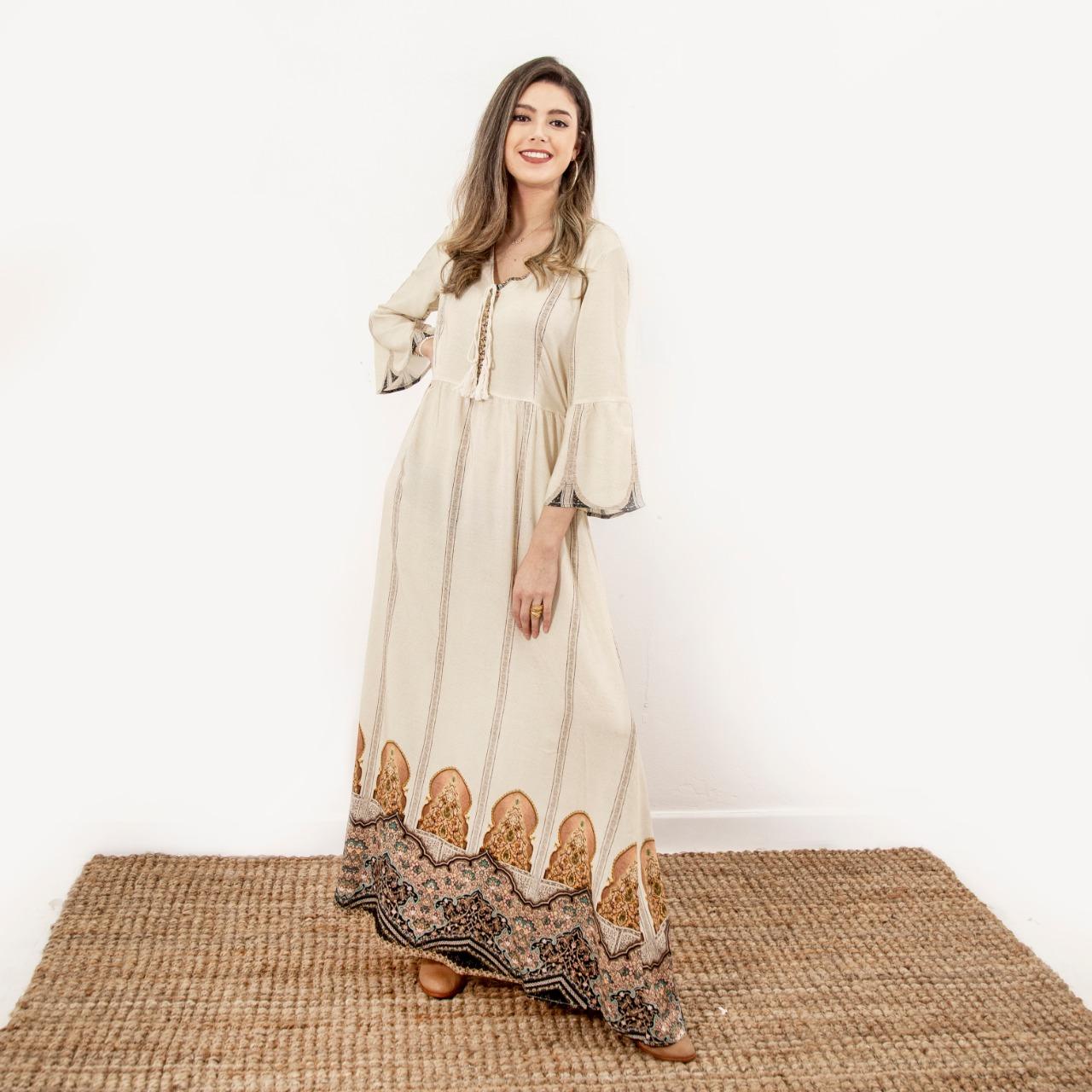 Vestido Largo Combinado Cod. 7200141-1