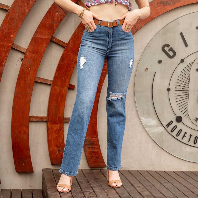 Pantalón Straight Jeans Roto Cod.1210283